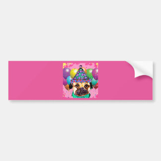 Pug Party Dog Bumper Sticker