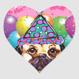 Pug Party Dog Heart Sticker