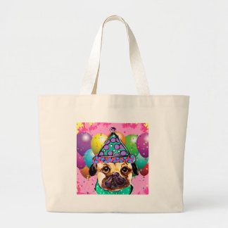 Pug Party Dog Large Tote Bag