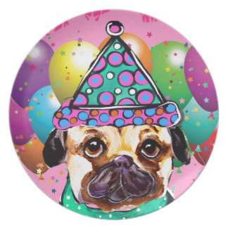 Pug Party Dog Plate