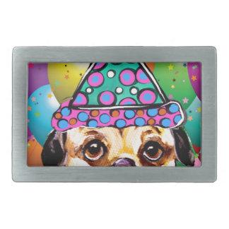 Pug Party Dog Rectangular Belt Buckles