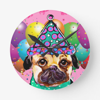 Pug Party Dog Round Clock