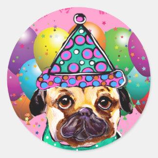 Pug Party Dog Round Sticker