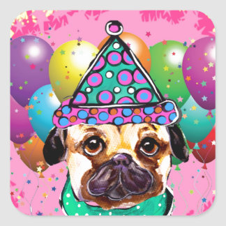 Pug Party Dog Square Sticker