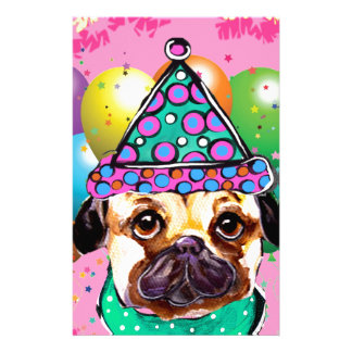 Pug Party Dog Stationery Paper