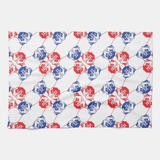Pug Pattern red blu Kitchen Towels
