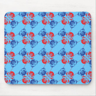 Pug Pattern red blu Mouse Pad