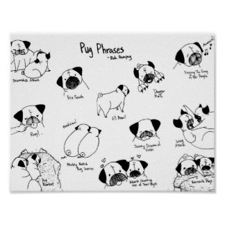 Pug Phrases Poster