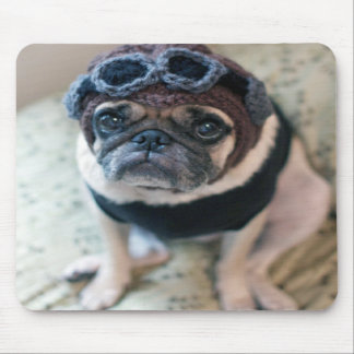 Pug Pilot Mouse Pad