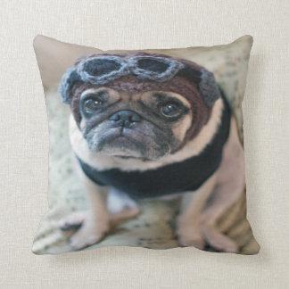 Pug Pilot Throw Pillow