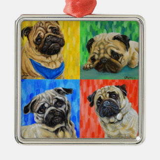 Pug Primary Metal Ornament