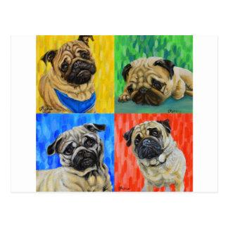 Pug Primary Postcard
