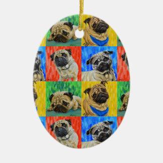 Pug Primary Repeating Pattern Ceramic Ornament