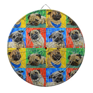 Pug Primary Repeating Pattern Dartboard