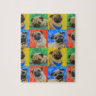 Pug Primary Repeating Pattern Jigsaw Puzzle