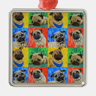 Pug Primary Repeating Pattern Metal Ornament
