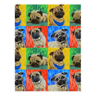 Pug Primary Repeating Pattern Postcard