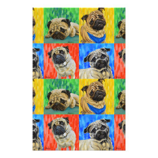 Pug Primary Repeating Pattern Stationery