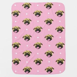 Pug Print Baby Blanket Pink