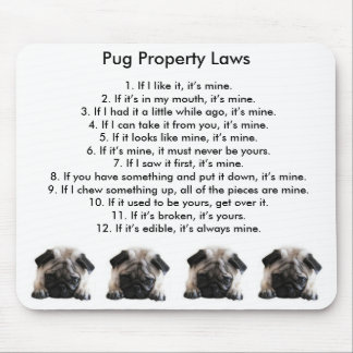 Pug Property Laws Mouse Mat Mouse Pad