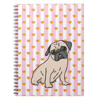Pug Pug with sweet hearts Notebooks