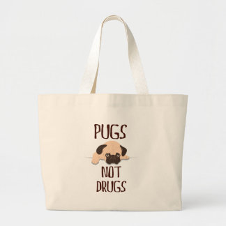 pug pugs not drugs cute dog design large tote bag