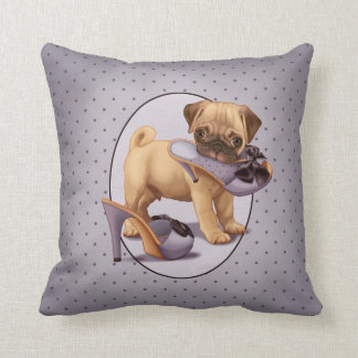 Pug Puppy and Shoe Throw Pillow