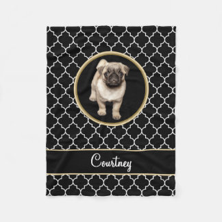 Pug Puppy Black White Quatrefoil with Name Fleece Blanket
