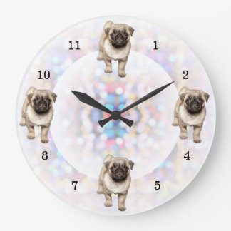 Pug Puppy Bright Lights Background Large Clock