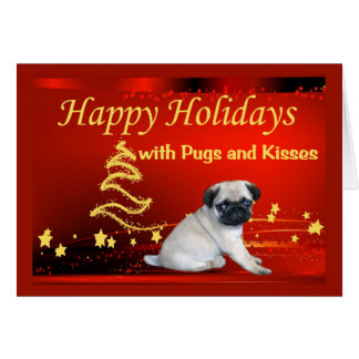 Pug Puppy Christmas Card Stars