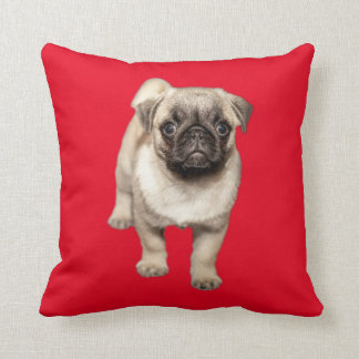Pug Puppy Custom Background Color Throw Pillow