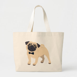 Pug Puppy Dog Cartoon Canvas Tote Bag