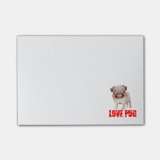 Pug Puppy Dog Cartoon Red Love Hearts PostIt Notes
