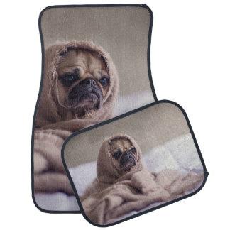Pug puppy Dog Cuddling in a warm towel Blanket Car Mat