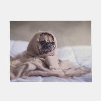 Pug puppy Dog Cuddling in a warm towel Blanket Doormat
