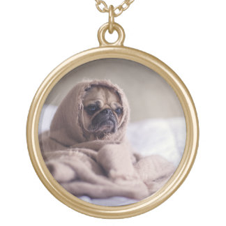 Pug puppy Dog Cuddling in a warm towel Blanket Gold Plated Necklace