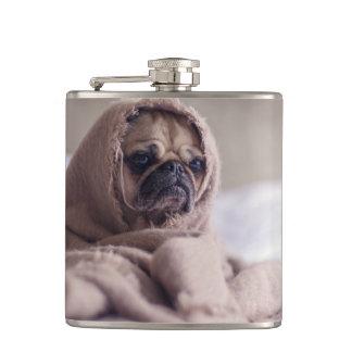 Pug puppy Dog Cuddling in a warm towel Blanket Hip Flask