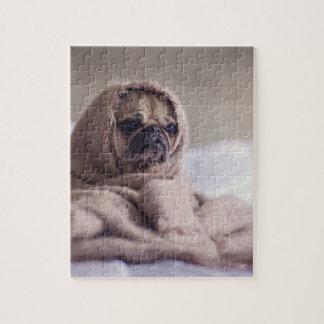 Pug puppy Dog Cuddling in a warm towel Blanket Jigsaw Puzzle
