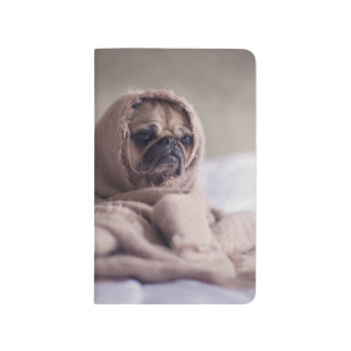 Pug puppy Dog Cuddling in a warm towel Blanket Journal