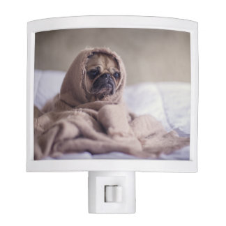 Pug puppy Dog Cuddling in a warm towel Blanket Night Light