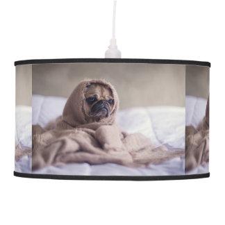 Pug puppy Dog Cuddling in a warm towel Blanket Pendant Lamp