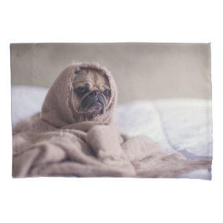 Pug puppy Dog Cuddling in a warm towel Blanket Pillowcase