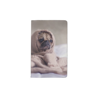 Pug puppy Dog Cuddling in a warm towel Blanket Pocket Moleskine Notebook