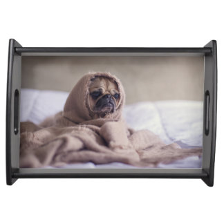 Pug puppy Dog Cuddling in a warm towel Blanket Serving Tray