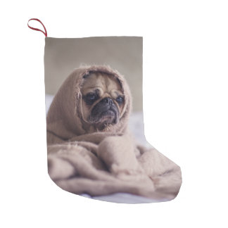 Pug puppy Dog Cuddling in a warm towel Blanket Small Christmas Stocking