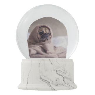 Pug puppy Dog Cuddling in a warm towel Blanket Snow Globe