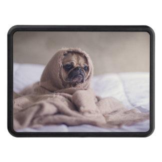Pug puppy Dog Cuddling in a warm towel Blanket Trailer Hitch Cover
