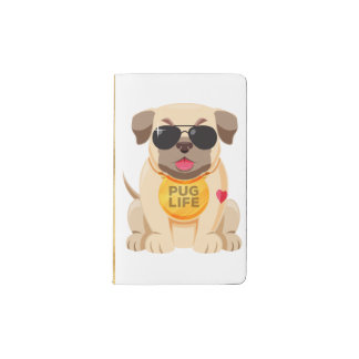 Pug Puppy Dog Love Gold Vintage Glam Pocket Moleskine Notebook