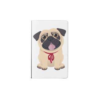 Pug Puppy Dog Love Vintage Black Chalkboard Pocket Moleskine Notebook