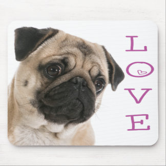 Pug Puppy Dog Purple Heart LoveMousepad Mouse Pad